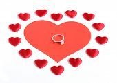 Diamond Ring With Many Red Hearts