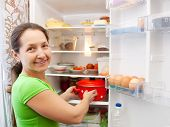 Woman Putting Pan Into Fridge