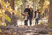 Happy Hispanic family with two children walking in a forest poster