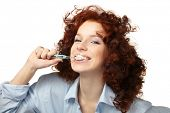 Young beauty woman clean teeth