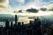 Hong Kong City Skyline At Sunrise poster