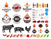Set Of Vector Barbecue Logo, Labels And Icons poster