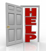 A white door opens to reveal the word Help symbolizing the support and assistance you can receive by opening up to a friend, colleague or counselor who can assist you in your needs