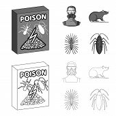 Staff, Packing With Poison And Pests Outline, Monochrome Icons In Set Collection For Design.pest Con poster