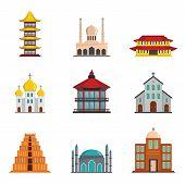 Temple Tower Castle Icons Set. Flat Illustration Of 9 Temple Tower Castle Vector Icons For Web poster