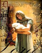 picture of christchild  - Mary holding the Christ child with artistic text and background - JPG