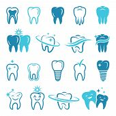 Stylized Monochrome Pictures Of Teeth. Dental Concept Illustrations For Logos. Dental Care Logo, Hea poster