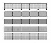 Set Of Different Modular Metal Fence Silhouettes. Vertically Seamless Metal Fence Elements. Black Si poster