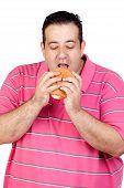 Fat Man Eating A Hamburger