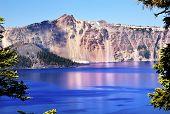 Wizard Island Crater Lake Reflection Blue Pink Reflection Oregon