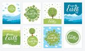 Happy Earth Day. Vector Illustration With The Words, Wooden Signboard And Green Leaves. Eco Friendly poster