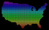 Spectrum Dotted Pixel Usa Map. Vector Geographic Map In Bright Colors On A Black Background. Colorfu poster
