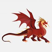 Dragon Cartoon, Zodiac Symbol, Company Logo, Vector Dragon Emblem, Flat Style poster