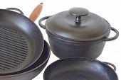 Cast Iron Pans And Pot Close Up