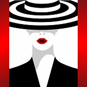 The Fashionable Woman In A Striped Hat. A Vector Illustration For Execution Of The Fashionable Magaz poster