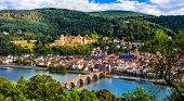 Landmarks of Germany - beautiful medieval Heidelberg town with impressive castle and bridge poster