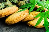 Cookies With Cannabis And Buds Of Marijuana On The Table. A Can Of Cannabis Buds Cbd Concept Of Cook poster