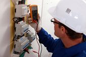 Electrical inspector reading power output