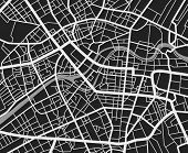 Black And White Travel City Map. Urban Transport Roads Vector Cartography Background. City Road Back poster
