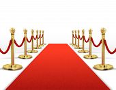 Red Carpet For Celebrity With Gold Rope Barrier. Success, Prestige And Hollywood Event Vector Concep poster