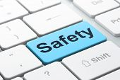 Safety Concept: Computer Keyboard With Word Safety, Selected Focus On Enter Button Background, 3d Re poster
