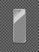 Realistic 3d Glass Frame On Transparent Background Vertically Shiny Framework For Advertisement. Vec poster