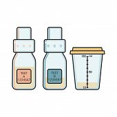 Bottles A, B And Sample Collection Vessel For Doping Control Filled With Urine And Sealed, Flat Vect poster
