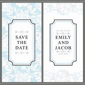 Wedding Invitation Card With Tender Hand Drawn Peonies In Soft Blue And White Colors. Gentle Invitat poster