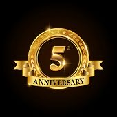 5 Years Anniversary Celebration Logotype. Golden Anniversary Emblem With Ribbon. Design For Booklet, poster