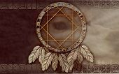 stock photo of dreamcatcher  - We see illustration of a Native American dreamcatcher - JPG