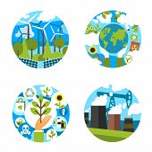 Nature Ecology And Environment Conservation Or Earth Pollution Prevention Icons. Vector Isolated Set poster
