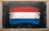 Flag Of Netherlands On Blackboard Painted With Chalk