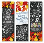 Welcome Back To School Banners Design Template On Black Chalkboard Or Chalk Blackboard. Vector Schoo poster