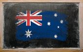 Flag Of Australia On Blackboard Painted With Chalk