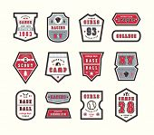 Set Of Emblems And Patches In Sport Style. Softball, Baseball, Racing And Camping Themes. Graphic De poster