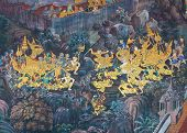 picture of annal  - war of ramayana on a wall in the Thai tample - JPG
