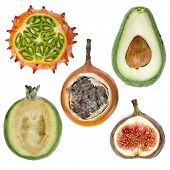 collection  exotic fresh fruits ( kiwano ,avocado,feijoa, granadilla, fig ) isolated on white backgr