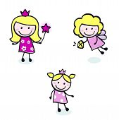 Cute Doodle Princess & Fairy Stitch Figures Set Isolated On White