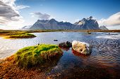 Beautiful mountain landscape on sunny day. Location Stokksnes cape, Vestrahorn (Batman Mount), Icela poster