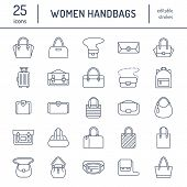 Women Handbags Flat Line Icons. Bags Types - Crossbody, Backpacks, Clutch, Totes, Hobo, Leather Brie poster