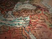 Middle east map. Israel in focus. 3D rendering poster