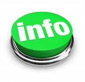 stock photo of more info  - A green button with the word Info representing a way to get more information to answer your questions on an important matter - JPG