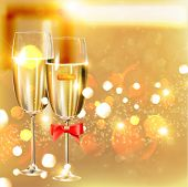 Two glasses of champagne for christmas or wedding invitation design.
