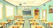 Vector Cartoon Background With Empty Classroom, Interior Inside. Back To School Concept Illustration poster
