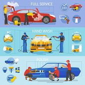 Car Wash Vector Car-washing Service With People Cleaning Auto Or Vehicle Illustration Set Of Car-was poster