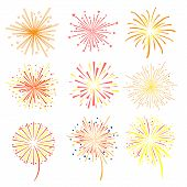 Brightly Celebration Fireworks Set, Holiday And Party Firework Design Elements Vector Illustration O poster