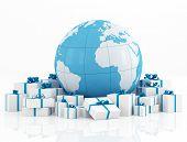 Earth Globe And Gift Box