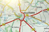 Holstebro. Kongeriget Danmark. A Paper Map And Roads On The Map. poster