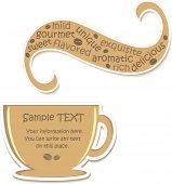 Cup of flavored coffee (sticker), vector illustration