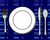 Plate Setting with Fork, Knife, and Spoon Vector Illustration